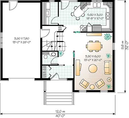 План 1го этажа дома, коттеджа